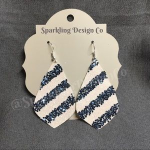 White & Blue Stripe Sparkle Earrings
